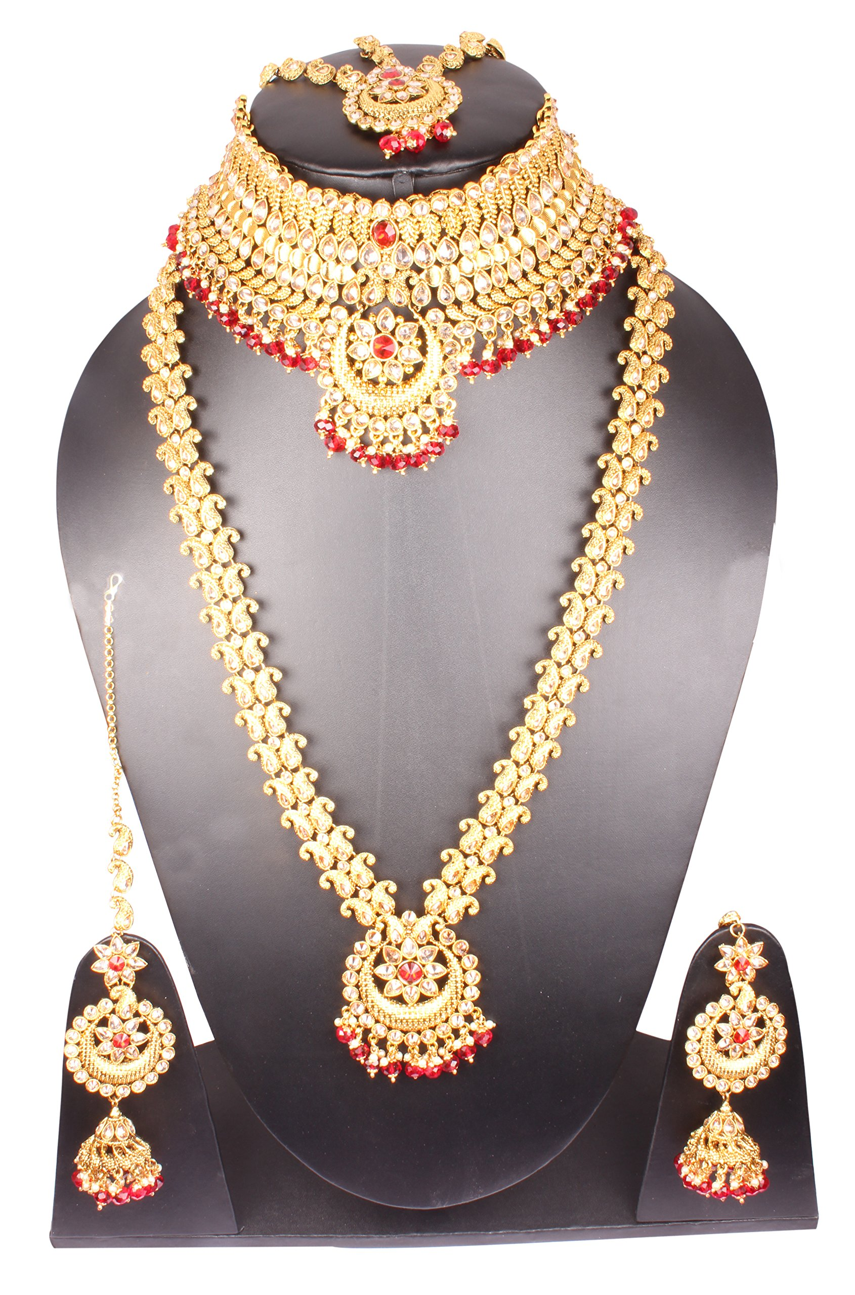 Shiv_Collection Traditional Bollywood Style Gold Plated Indian Necklace Earrings Bridal Set Jewelry