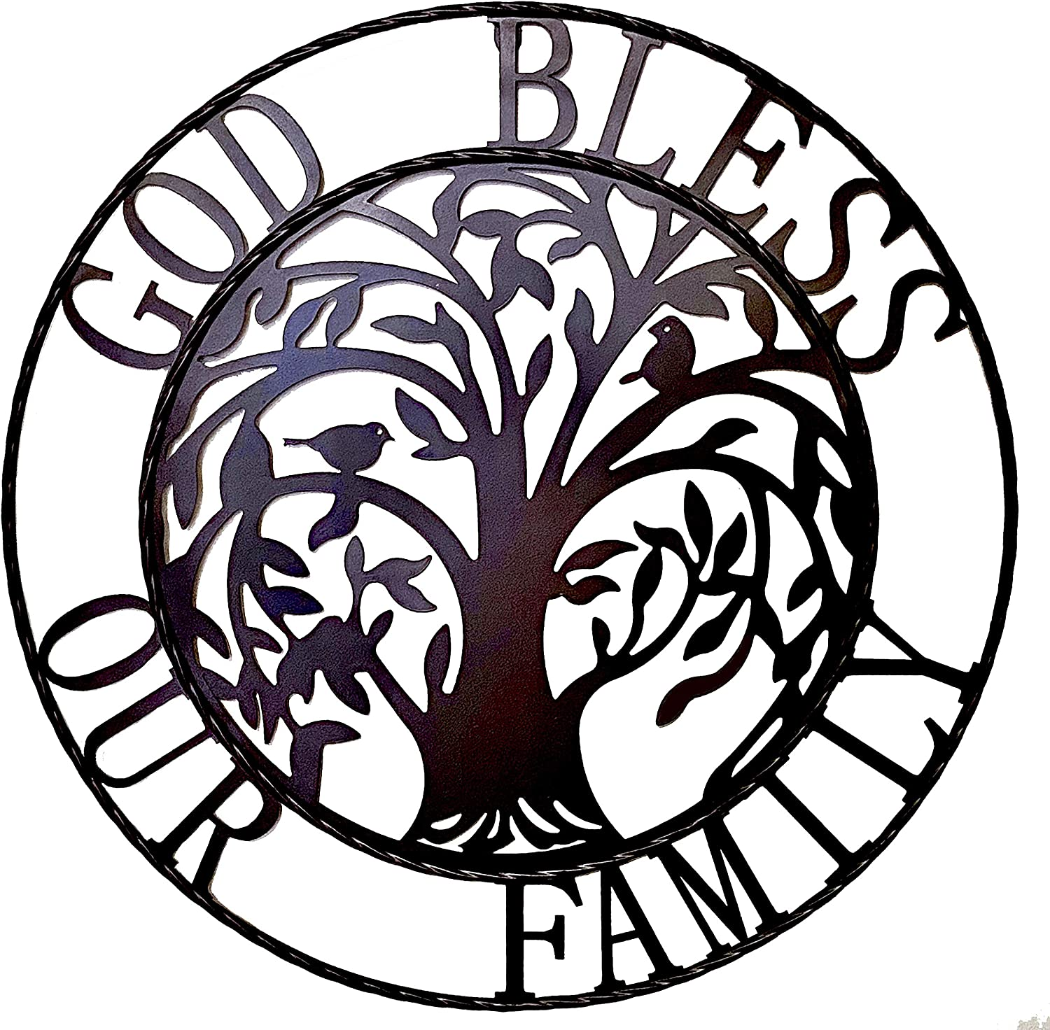 "Tree of life Rustic Metal Wall Art - God bless our family 24"" Metal Circle Wall Decor Hanging Sign Home Decoration Wall Plaque"