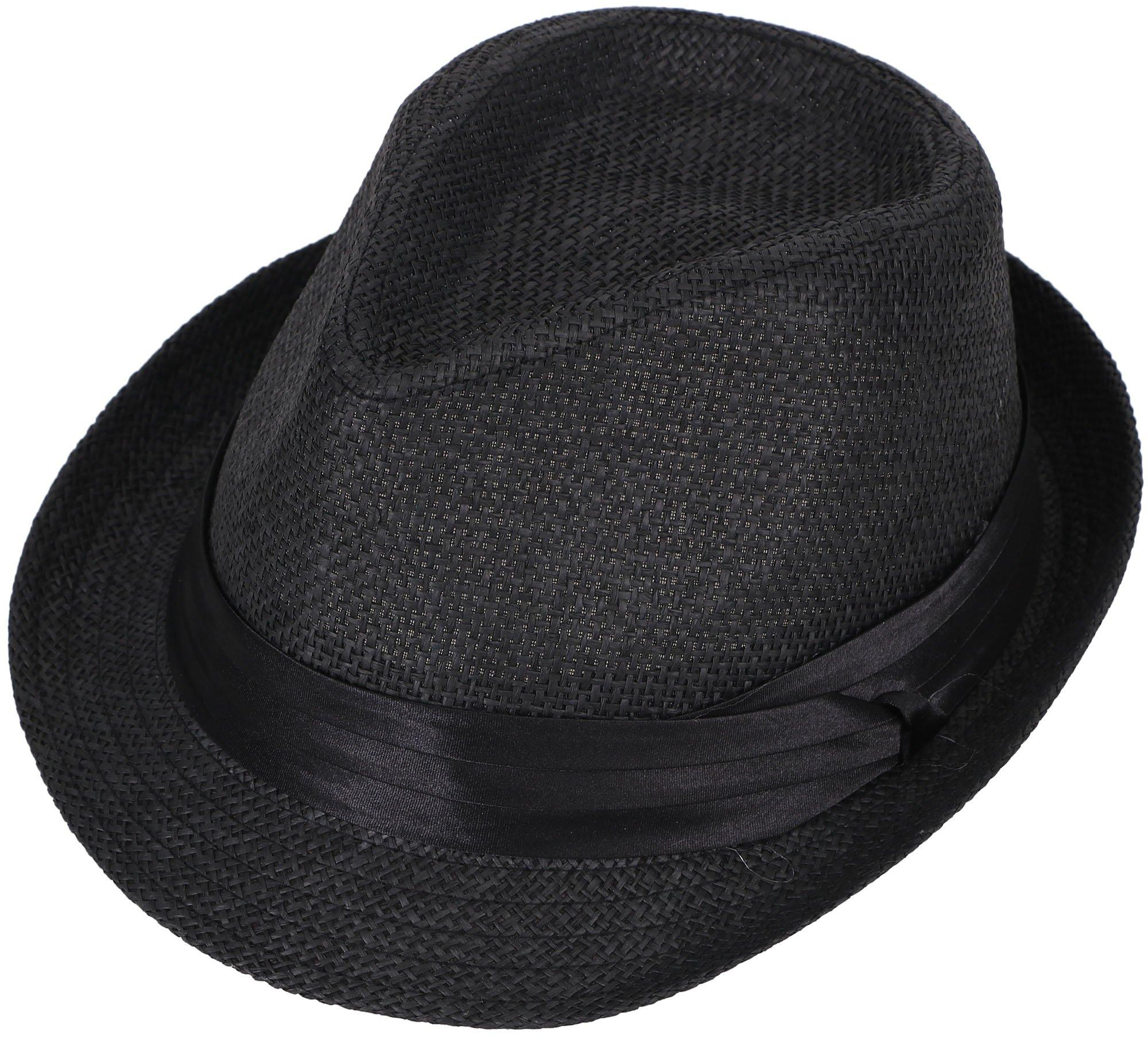 AbbyLexi Men's Straw Fedora Short Brim Summer Outdoors Sun Hat, Black, S/M