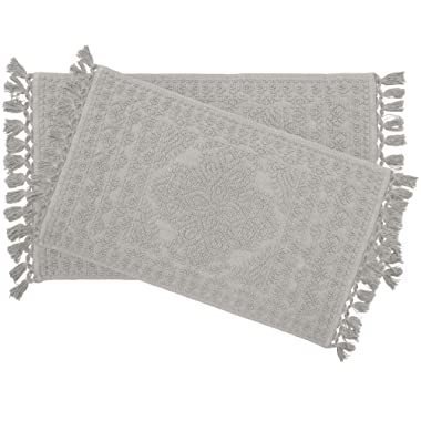 French Connection Bath Rugs, 17 in. x 24 in./20 in. x 34 in, Medium Grey