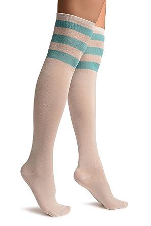 fd885c0f54b White With Blue Stripes Referee Knee High Socks - White Striped   Amazon.co.uk  Clothing