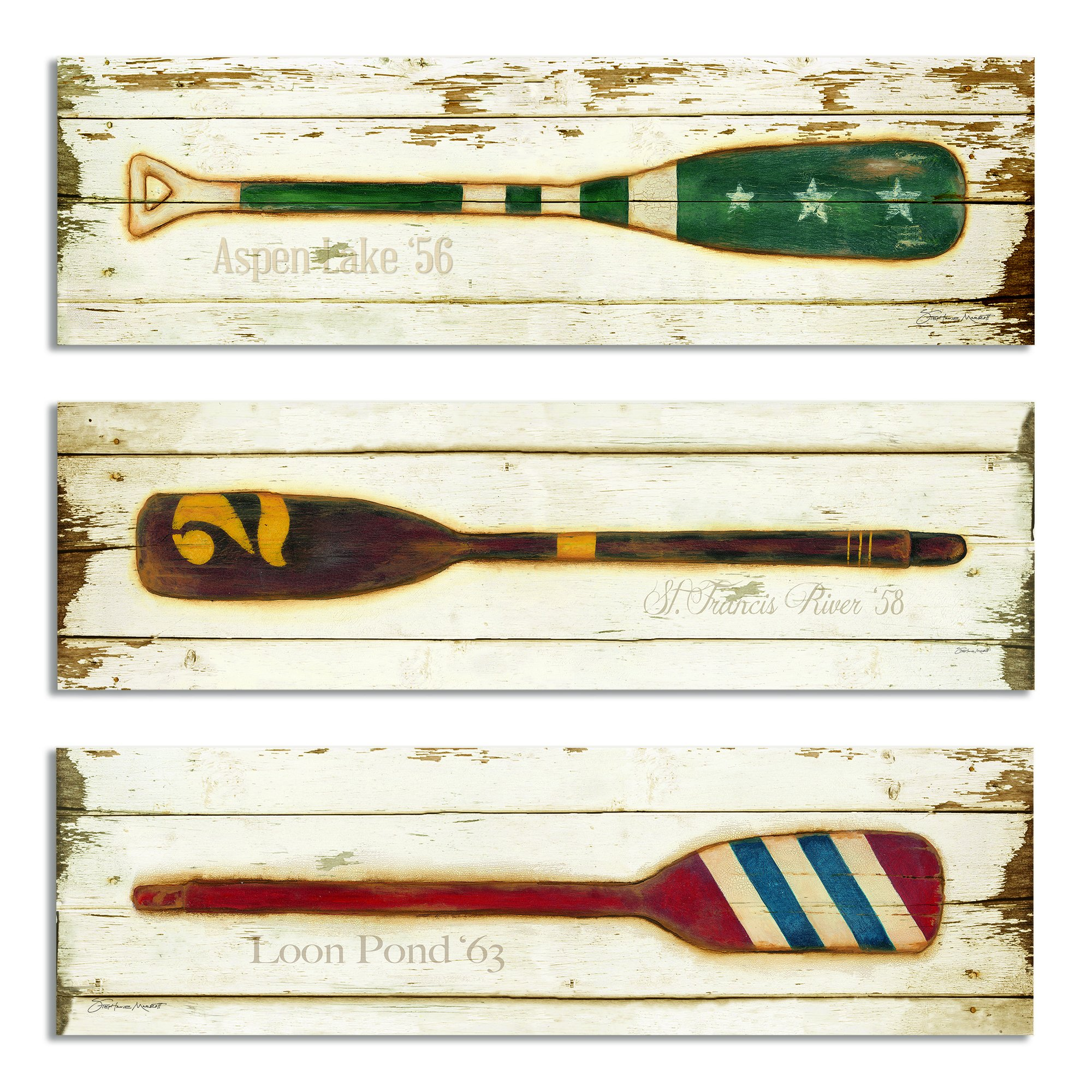 The Stupell Home Decor Collection Vintage Oars 3-Piece Rectangle Wall Plaque Set