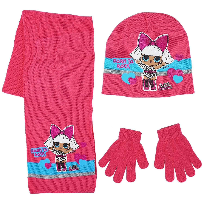 Taglia 54 52, Rosa Guanti Multicolore LOL Surprise Sciarpa Cappello e Guanti LOL Surprise HS4348 Set 3 Pezzi Cappello Rosa Bambina Sciarpa Coordinati Invernali