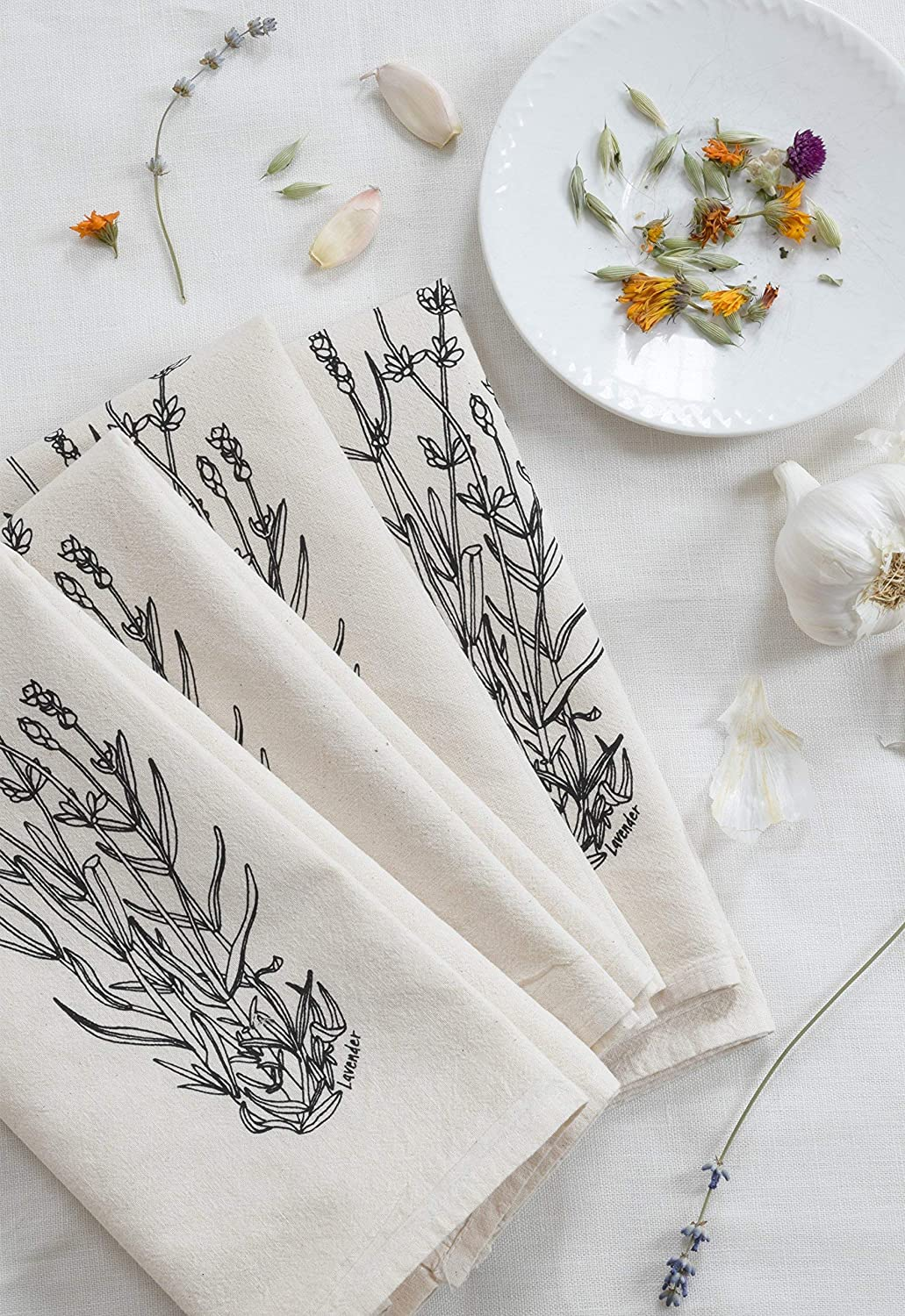 Set of 4 Cloth Napkins - Organic Cotton - Lavender Print in Black