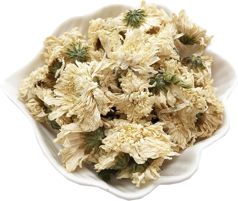 PEPPERLONELY 1 oz Organic Kosher Certified Botanical Dried Edible White Chrysanthemum Flowers