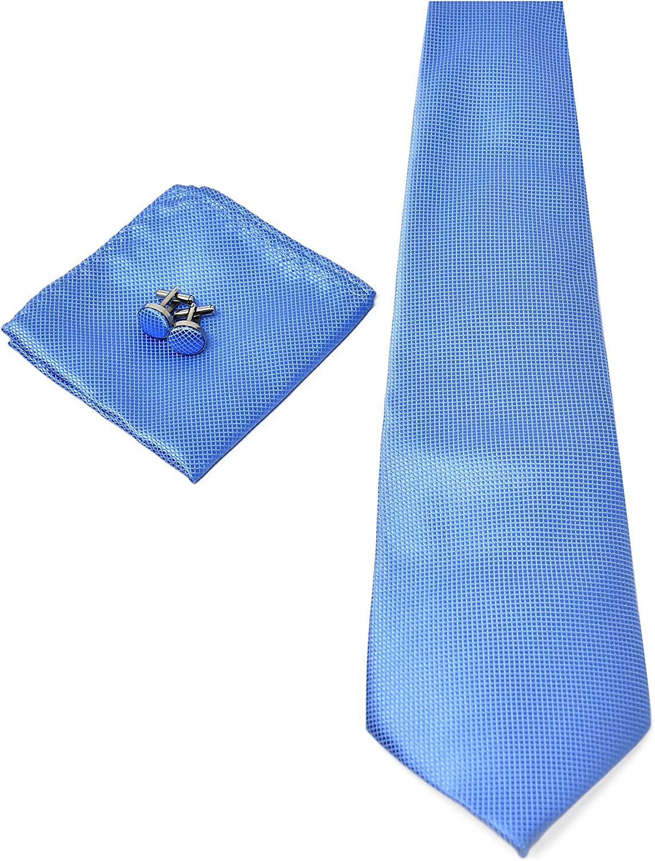 Corbata de hombre, Pañuelo de Bolsillo y Gemelos Azul Claro - 100 ...