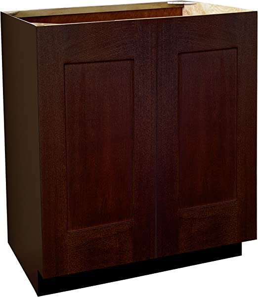 Shaker Panel Door Style Vanity Sink Base with Full Height Doors 36 Wide 18 Deep 34.5 High in a Maple Spice Finish Model VSBFH361834.5-SS