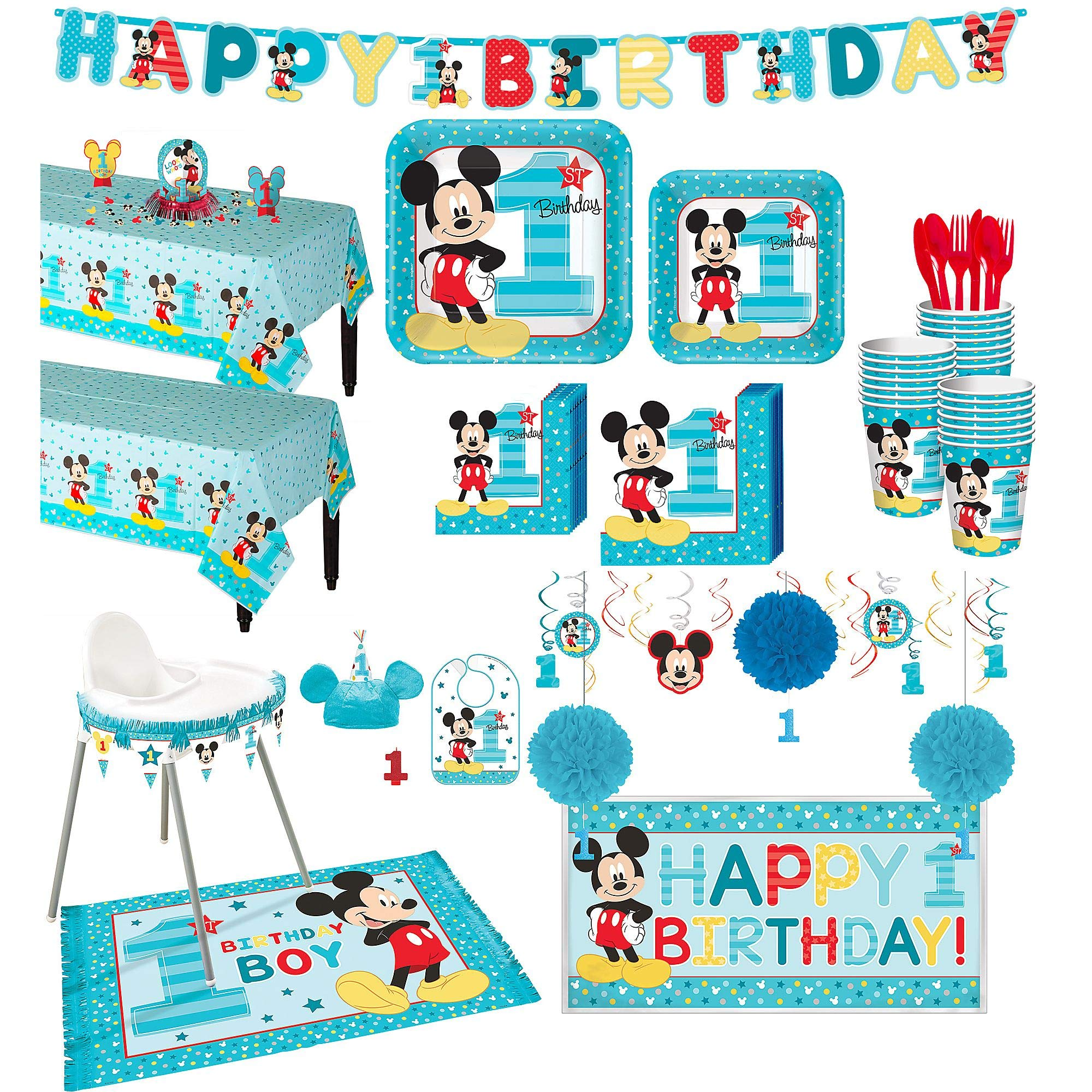 Party City 1st Birthday Mickey Mouse Deluxe Party Kit for 32 Guests, Includes High Chair Decorating Supplies and More by Party City