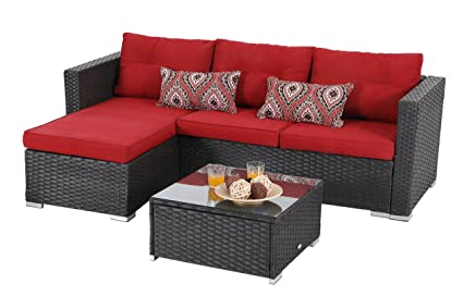 PHI VILLA 3 Piece New Outdoor Furniture Sectional Sofa Patio Set Upgrade  Rattan Wicker, Red