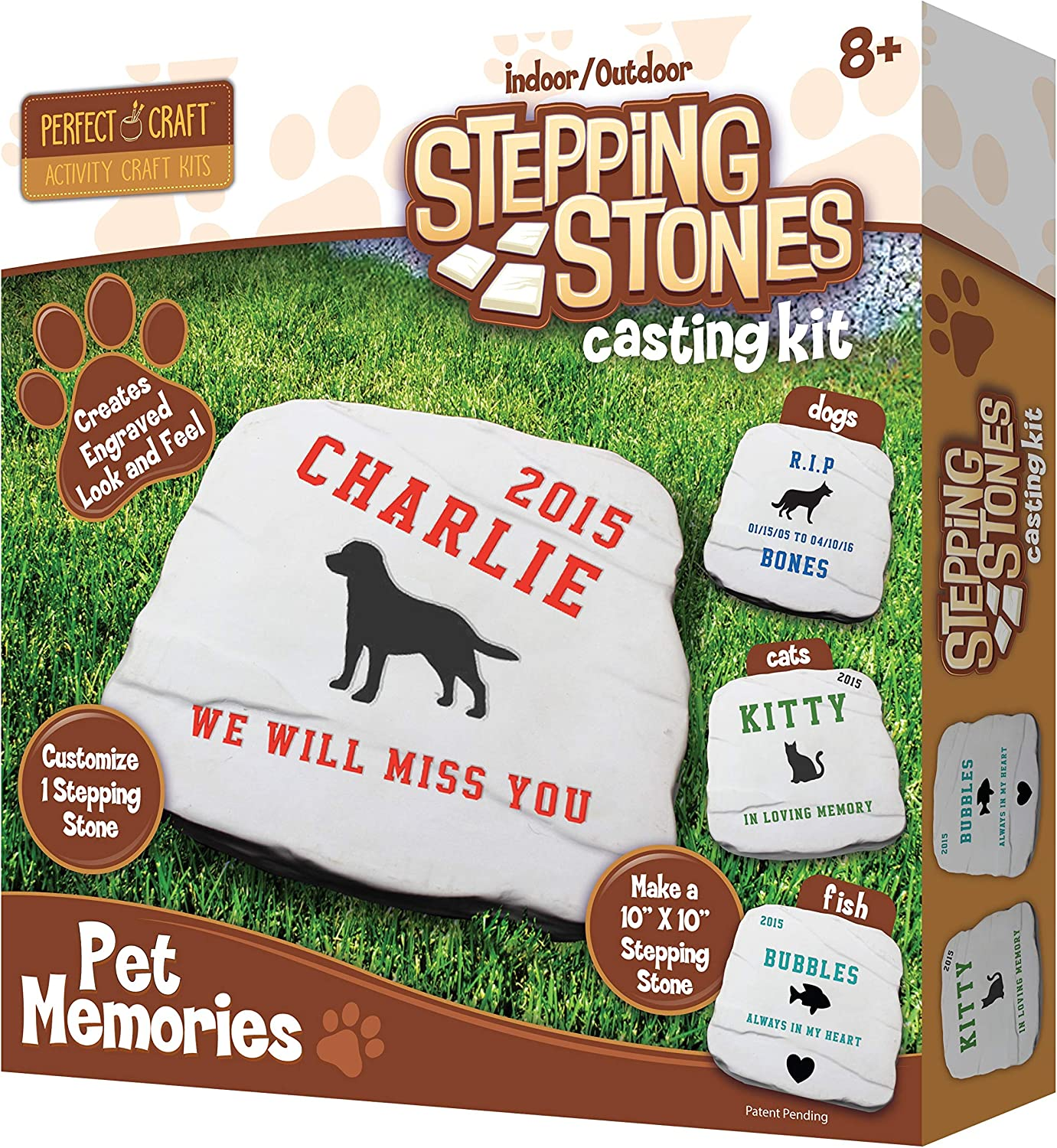 Perfect Craft Cast & Paint Pet Memories Memorial Stone Kit with Perfect Cast Casting Material and Reusable Mold