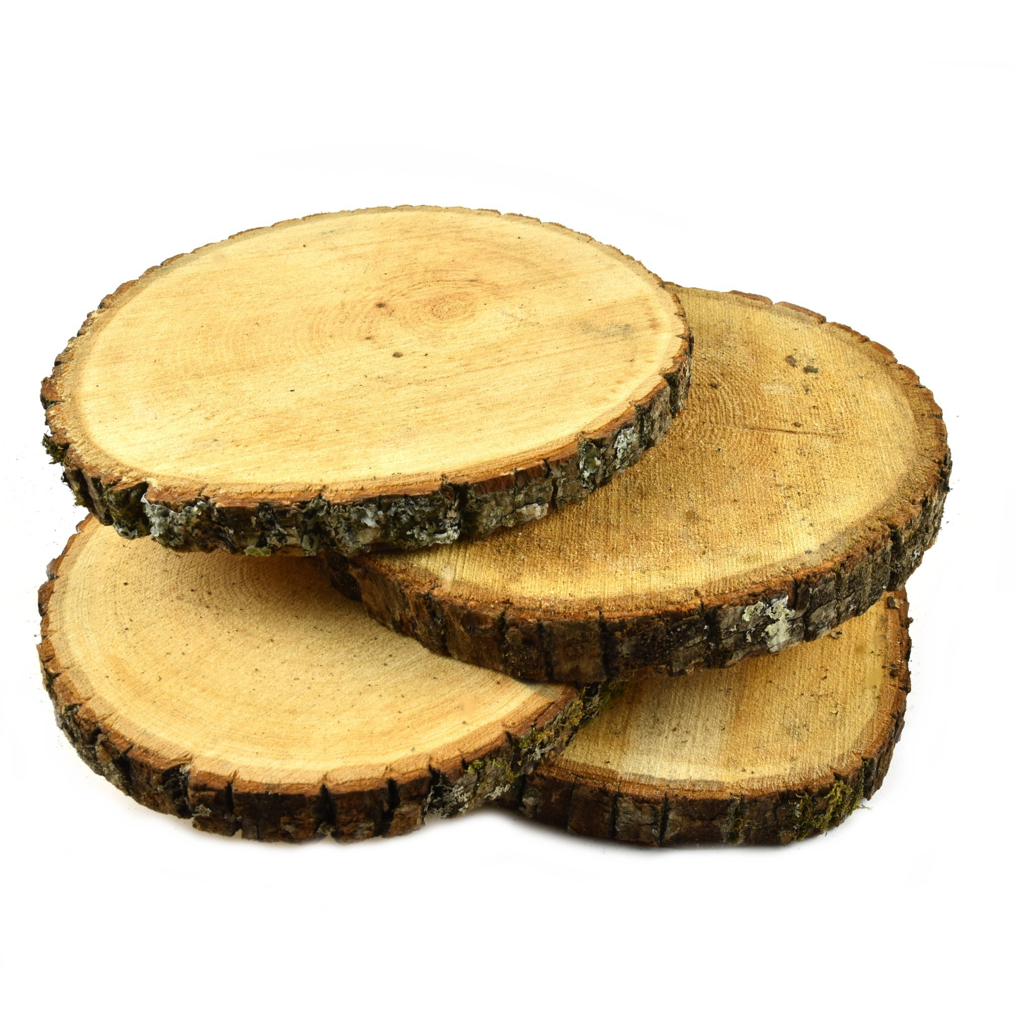 Natural UNTREATED Basswood SLABS 9'' to 11'' Diameter (Large) - Excellent for Weddings, centerpieces, DIY Projects, Table Chargers or Decoration! by Woodland Decor (Set of Four SLABS)