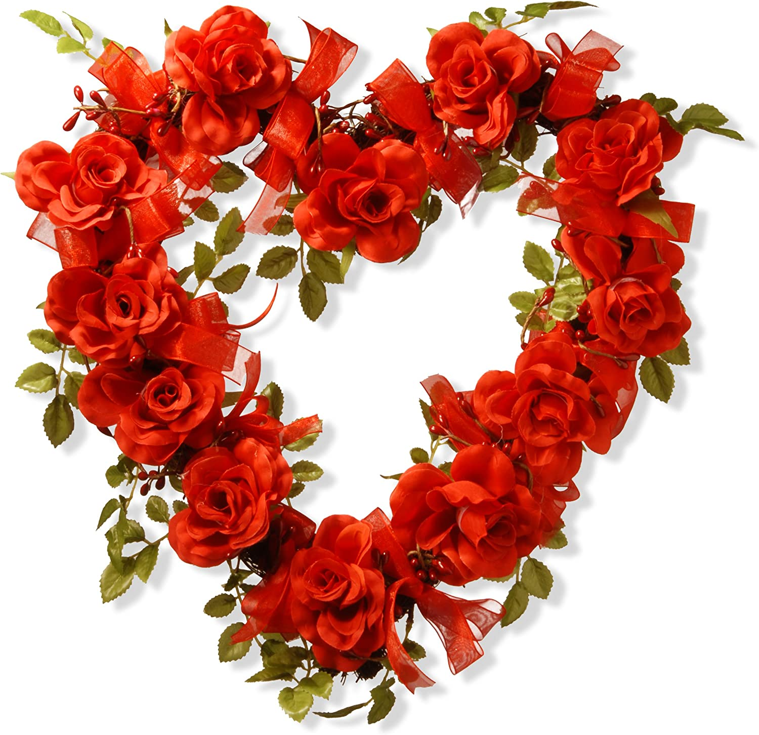 National Tree 16 Inch Valentine Heart Wood Wreath with Red Roses and Bows (RAV-15531AX16)