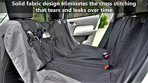 Pupholstery Dog Car Seat Covers for Cars Trucks SUV s. Waterproof Back Seat Dog Hammock Cover with Storage Pockets, Seat Belt Openings, Carry Bag, Zipper