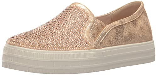 Skechers Womens Double up-Shiny Dancer Fashion Sneaker, Rose Gold, ...