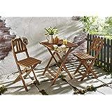 SAM® 3tlg. Balkon- Sitzgruppe, Garten-Möbel aus Akazien-Holz geölt, bestehend aus 1x Tisch + 2x Klappstuhl, klappbar