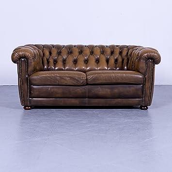 Chesterfield Leder Sofa Braun Zweisitzer Couch Echtleder Vintage