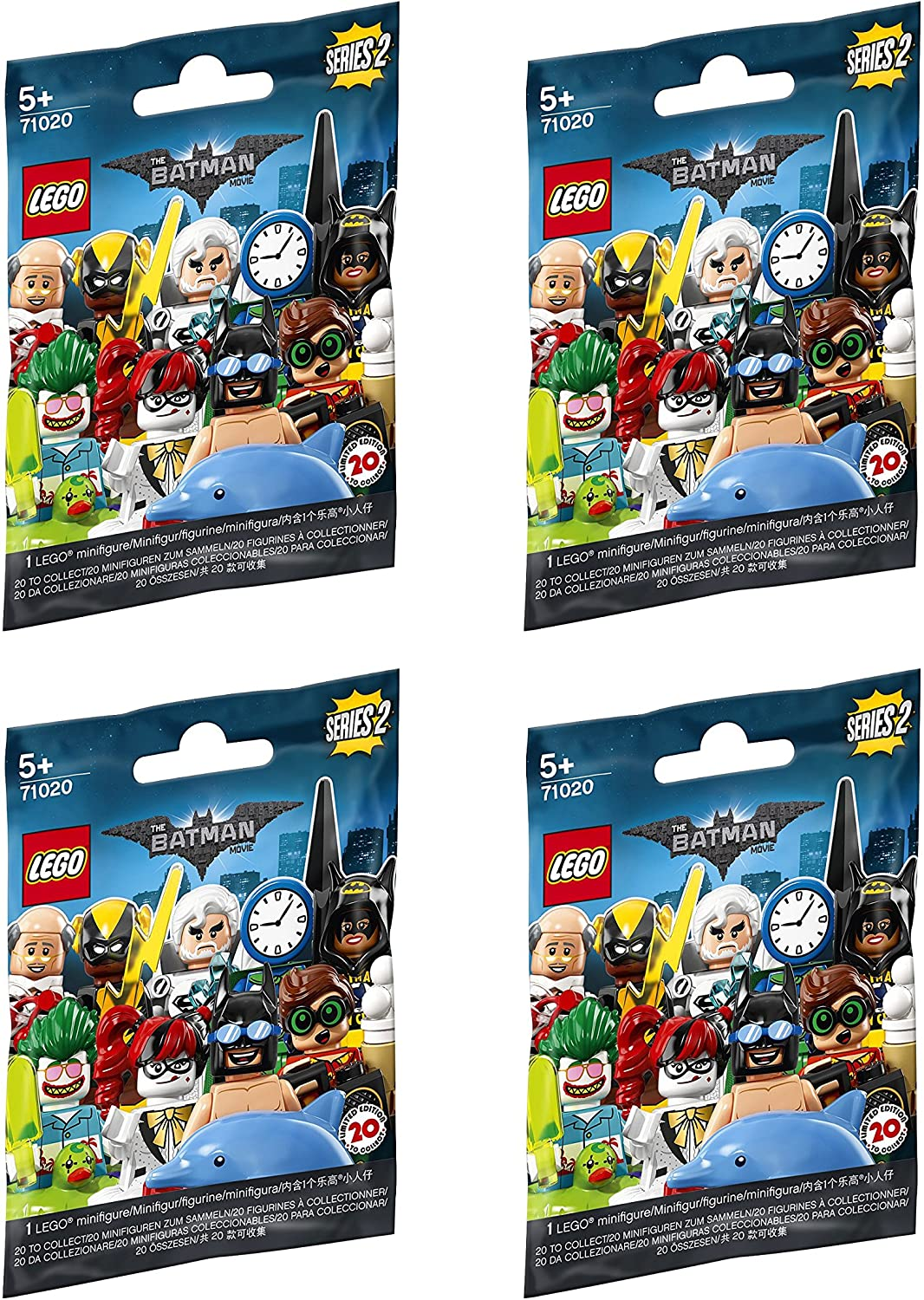 LEGO Minifigure Batman Series 2 - New Sealed Blind Bags - Random Set of 4 (71020)