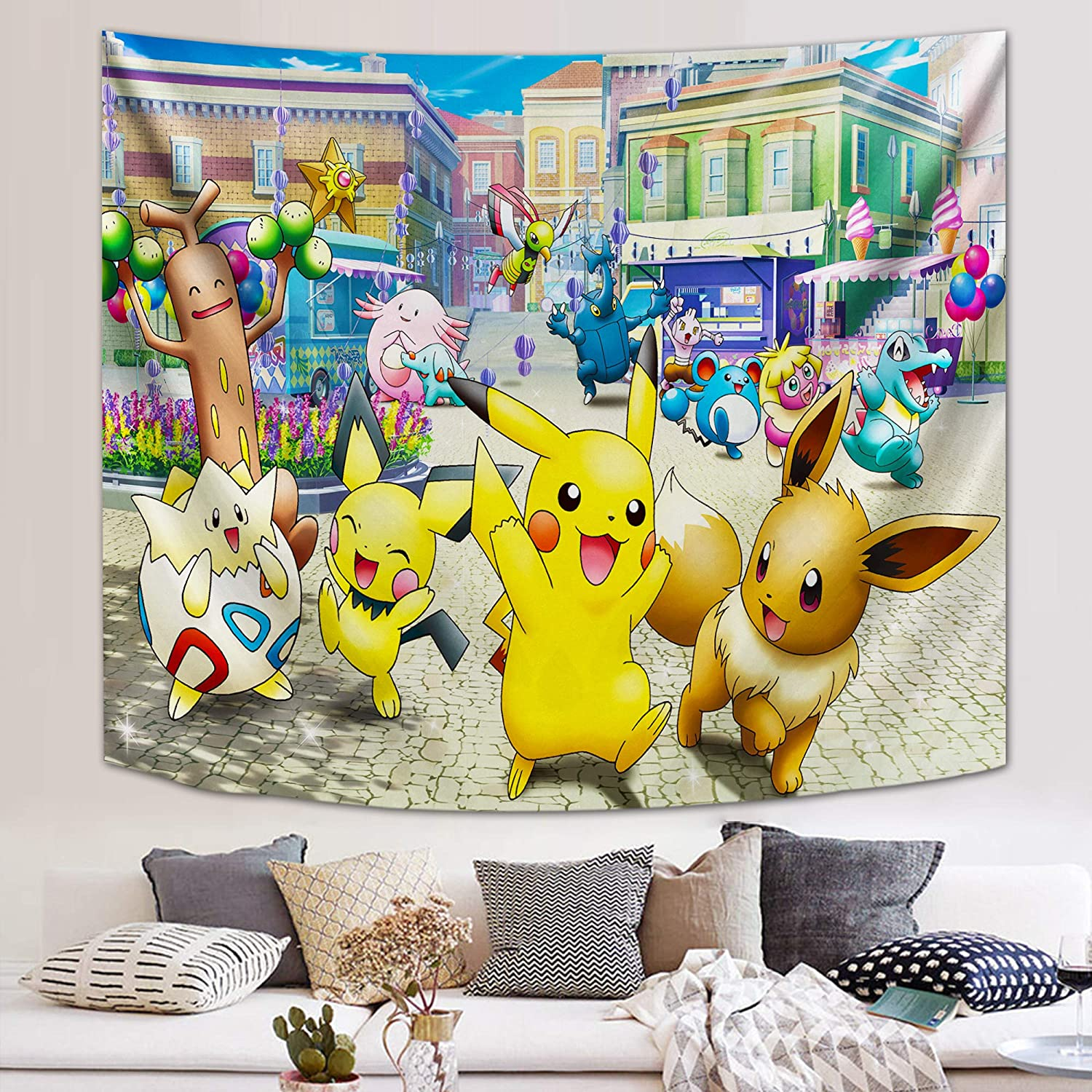 Anime Pokemon Tapestry Anime Wall Tapestry for Party Bedroom Decor 59x70in