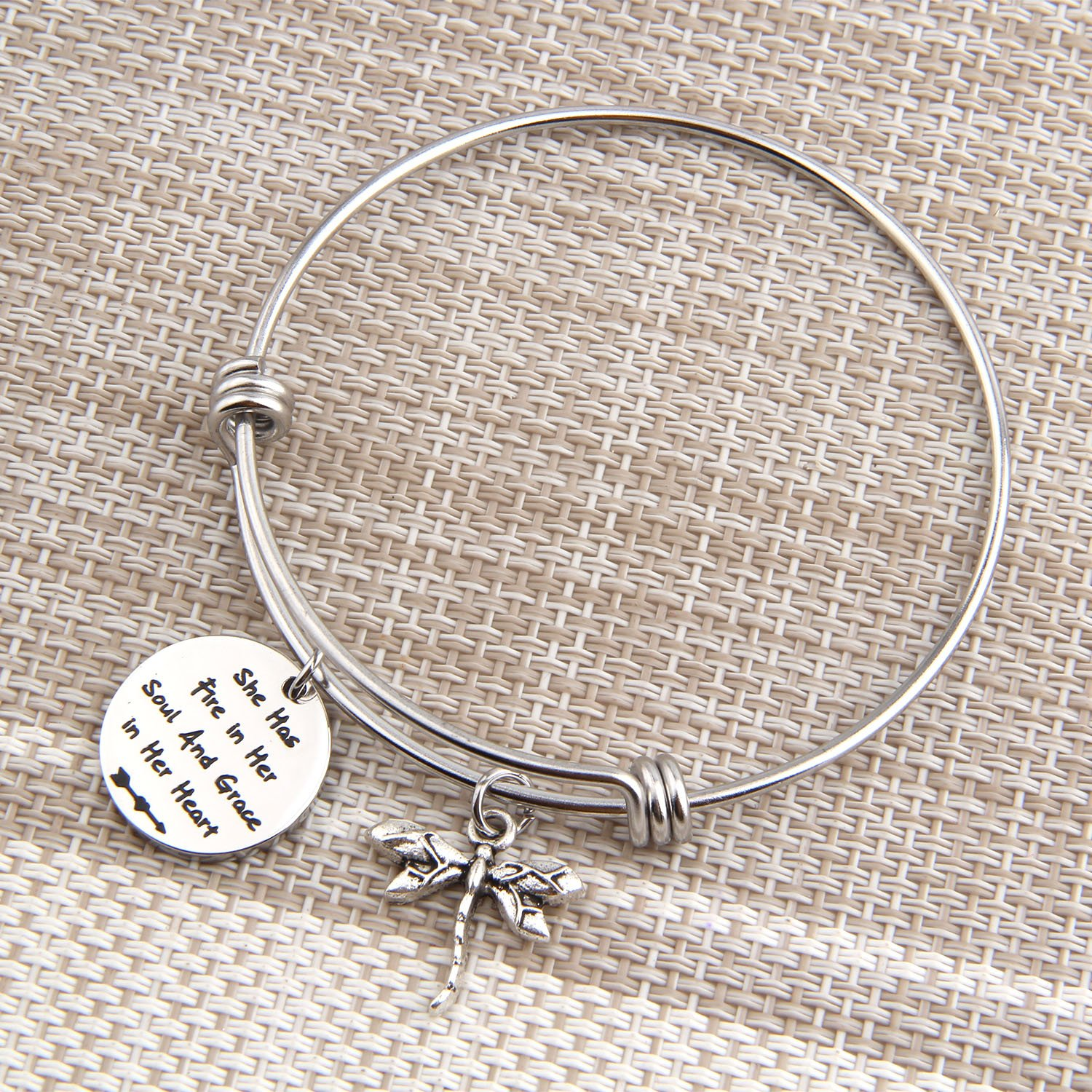 PLITI Inspirational Jewelry Graduation Gift She Has Fire in Her Soul and Grace in Her Heart Bracelet with Dragonfly Charm Motivational Faith Gift for Her (She has fire in Soul) by PLITI (Image #5)