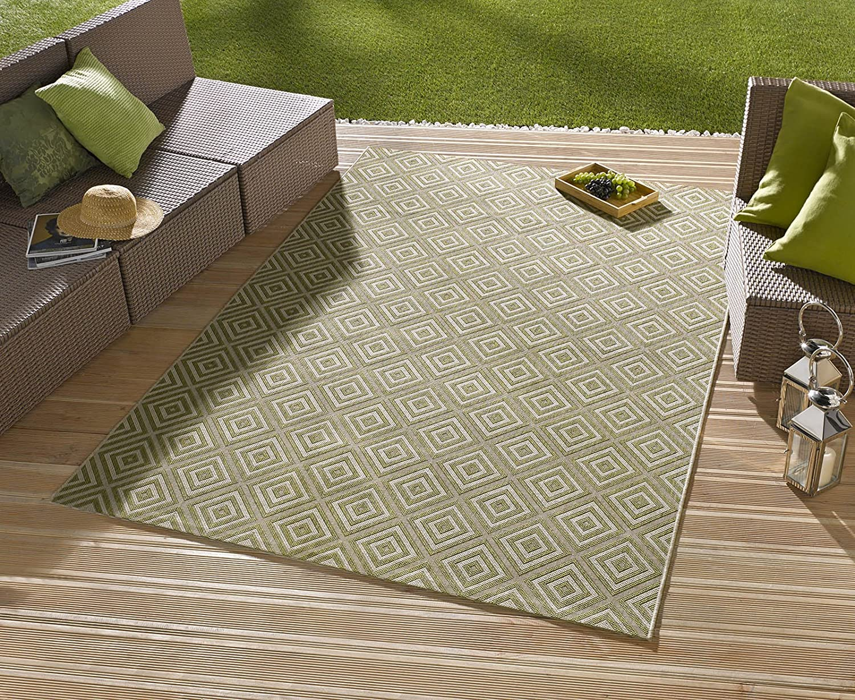 Bougari Karo In-und Outdoorteppich, Polypropylen, Grün, 230.0 x 160 x 0,8 cm