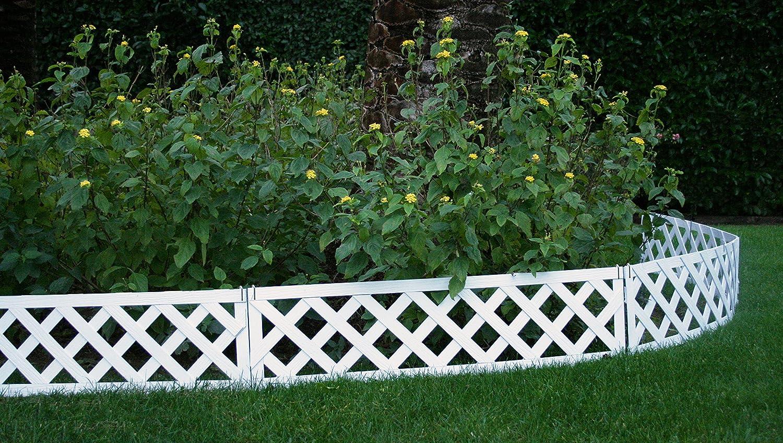 Mini valla/bordura NEUILLY en madera composite. Total piezas: 3 m. Color blanco: Amazon.es: Jardín