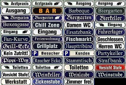 Emaille Straßenschild Stammtisch 30x8 cm blaues Metallschild Deko tin sign