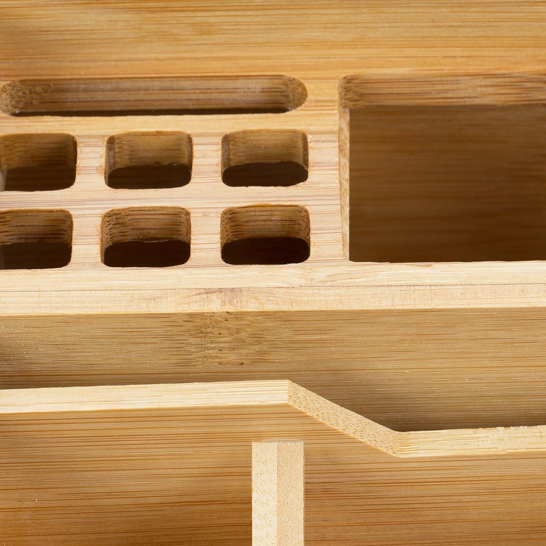 Bamb/ú Beige Relaxdays Organizador de Escritorio Peque/ño 9 x 13 x 16 cm