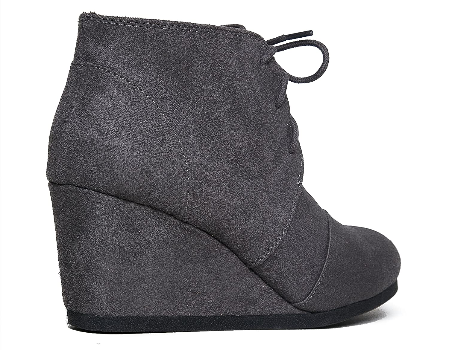 a43920b647e15 Amazon.com   J. Adams Roxy Wedge Booties - Casual Lace Up Low Heel Closed  Toe Ankle Boot   Ankle & Bootie