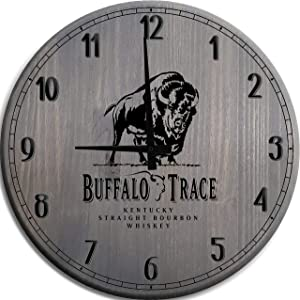 Moon Inc Large Wall Clock Buffalo Trace Kentucky Bourbon Whiskey Man Cave Wall Decor Barnwood Gray 18 Inch