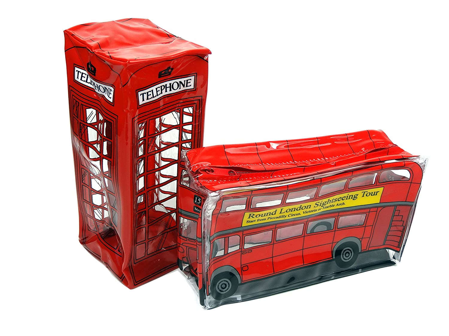 Transparent Pencil/ Accessories Cases in the shapes of London Red Bus and Telephone Box (2 Qty)