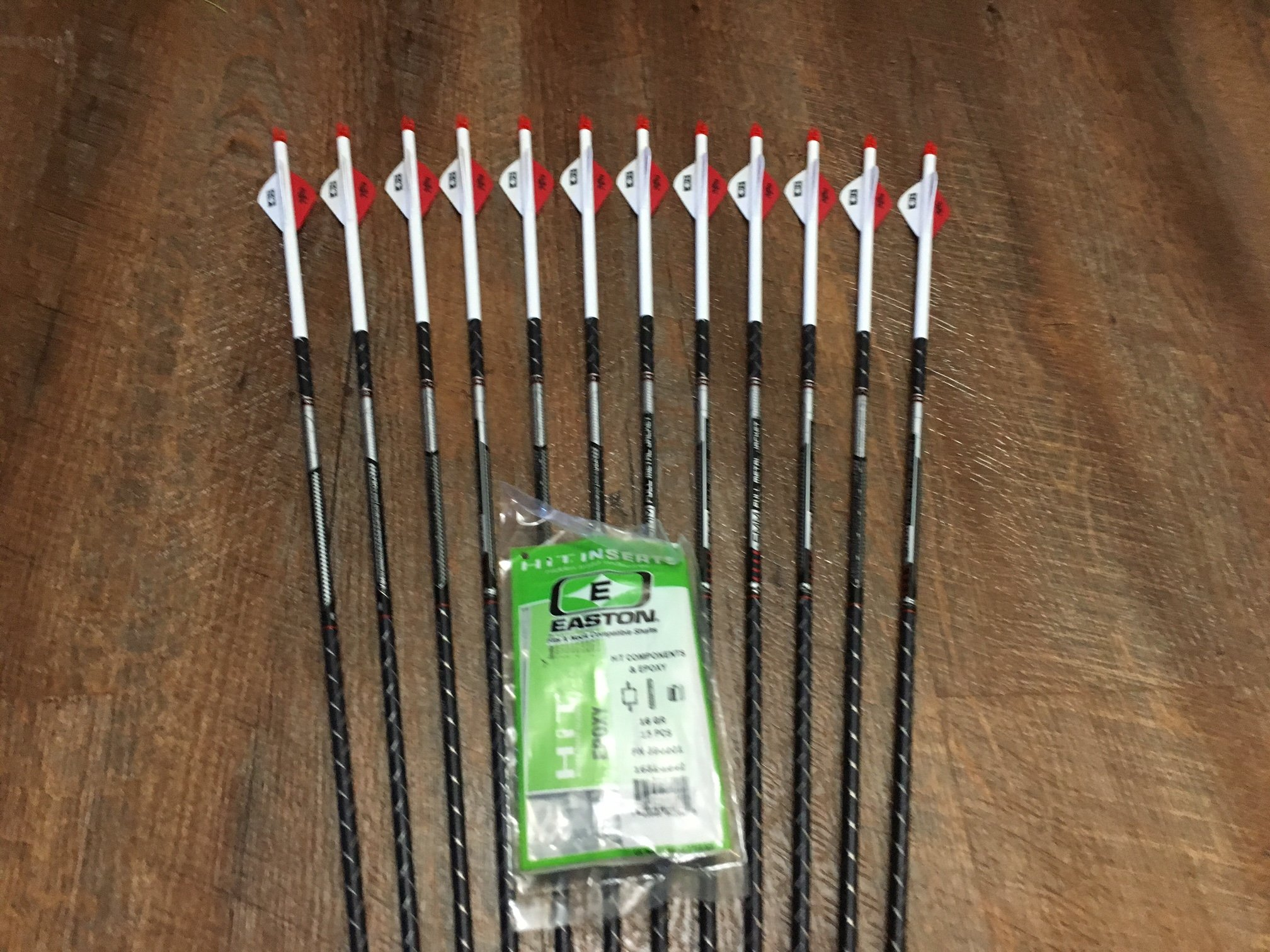 Easton Full Metal Jacket 340 Arrows With Blazer Vanes Custom Made Set of 12 by BADGER ARCHERY (Image #1)