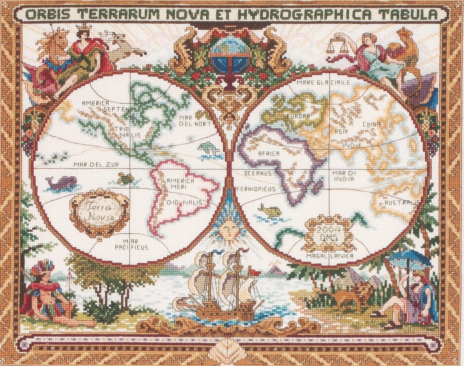 Amazon janlynn cross stitch kit 15 inch by 18 inch olde world map gumiabroncs Choice Image
