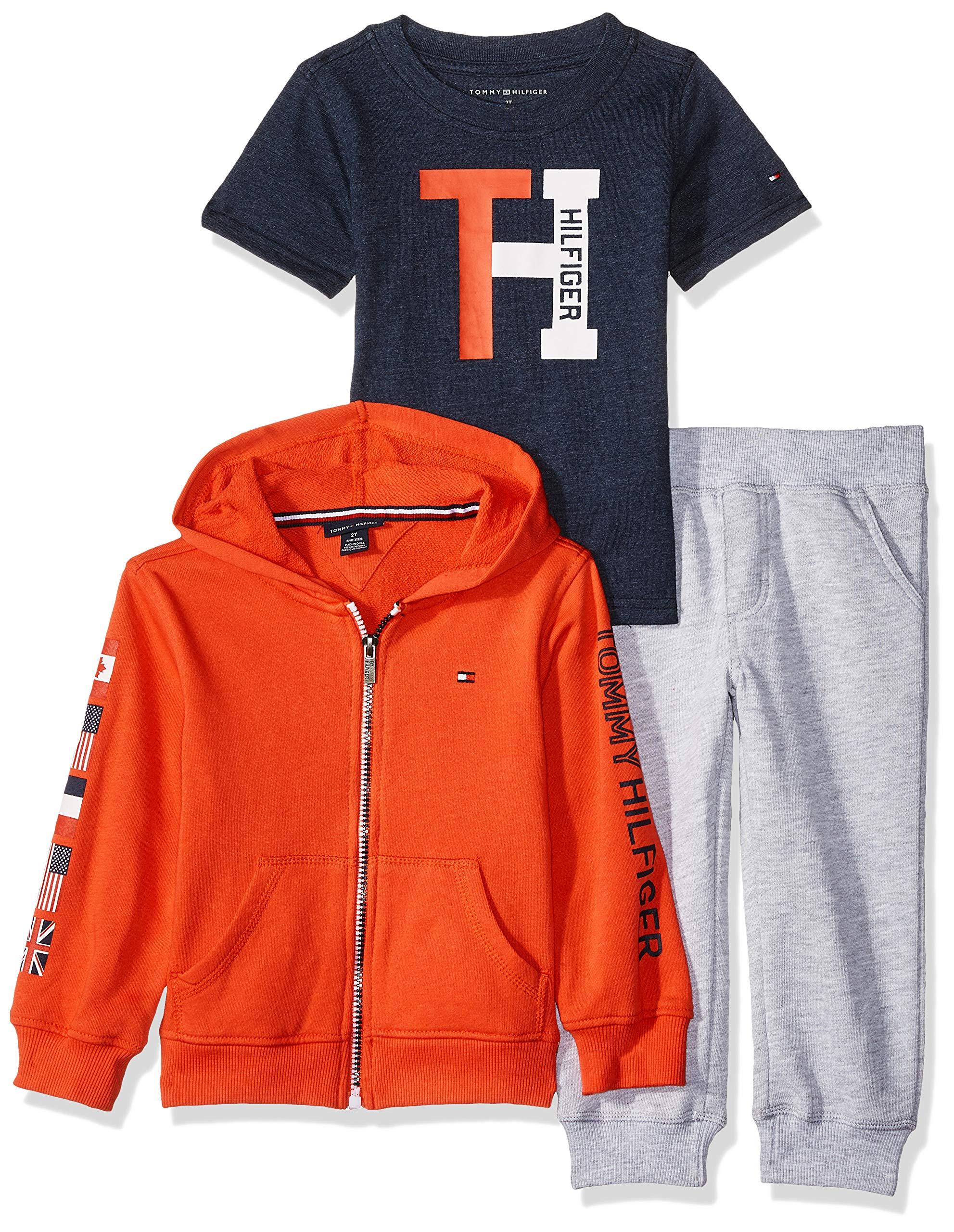 Tommy Hilfiger Boys' Toddler 3 Pieces Jog Set, red/Blue/Gray 3T