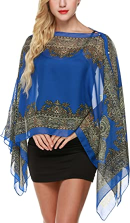 iNew PAISLEY PATTERN SHEER COVERUP PONCHO Tunic Top Cover up One Size Scarf Top