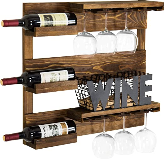 Wall Mounted 3 Bottle Wine Rack Black Metal Wire Storage Holder Display Crate