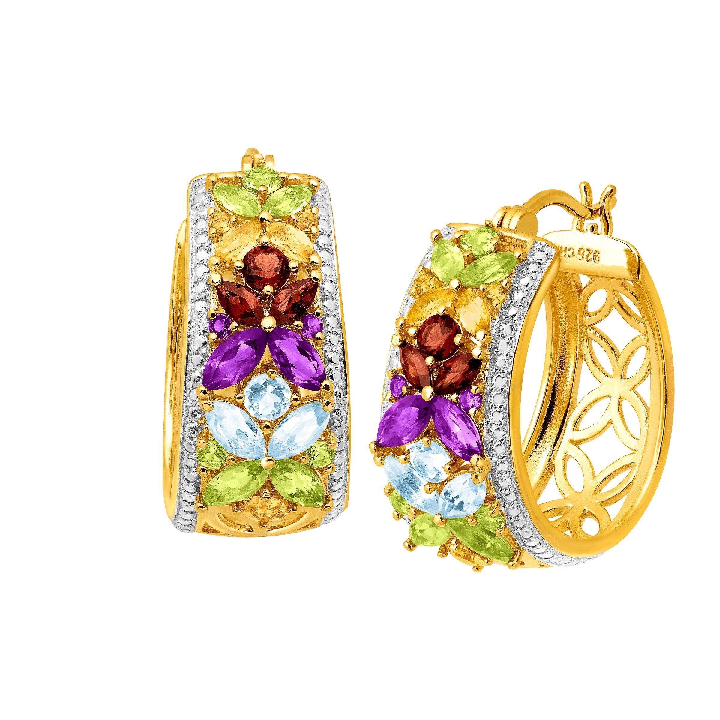 3 1/10 ct Natural Multi-Gem Hoop Earrings in 18K Gold-Plated Sterling Silver