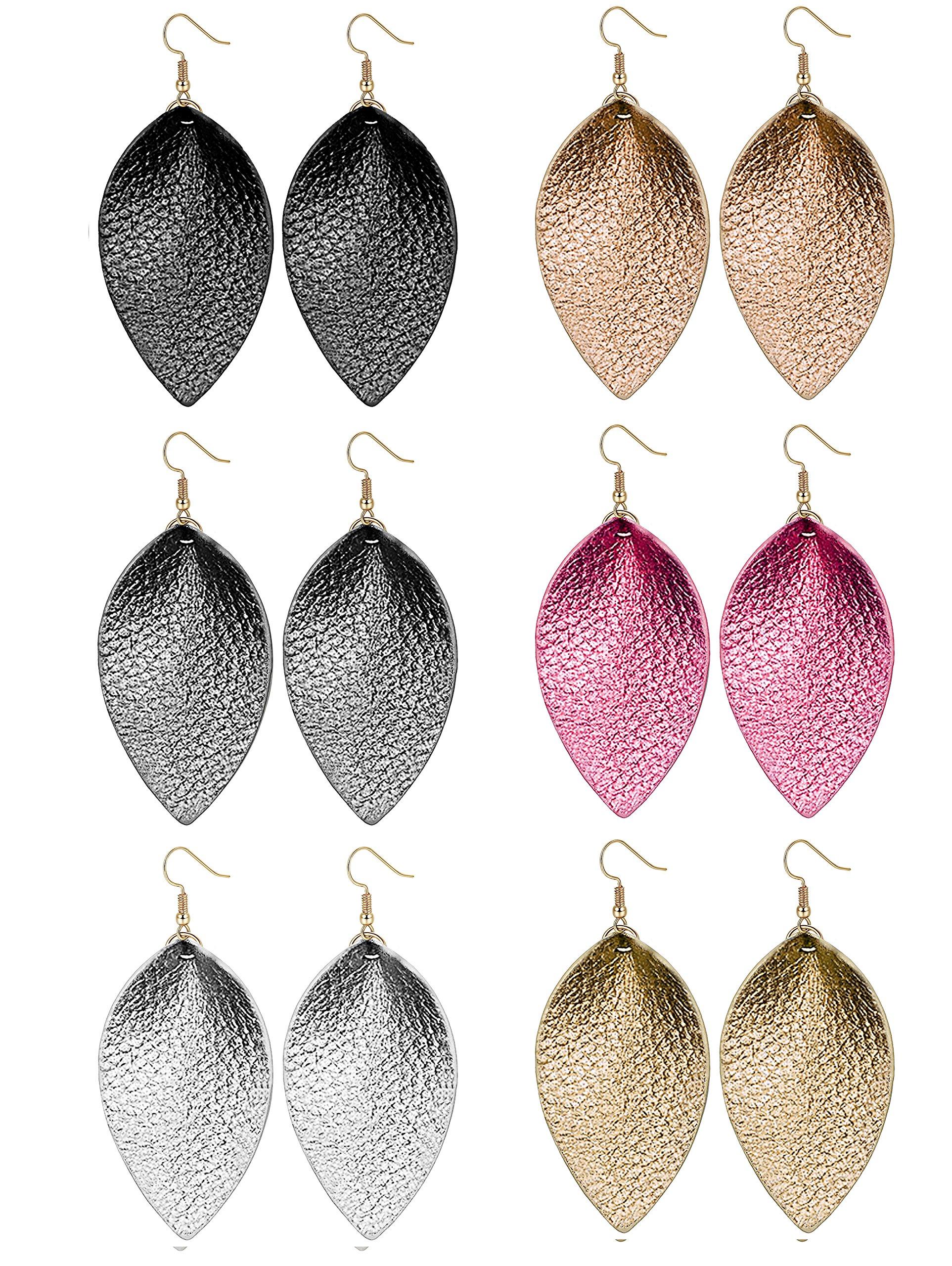 LOLIAS 6 Pairs Teardrop Leather Earrings Set for Women Girls Leaf Dangle Drop Earring