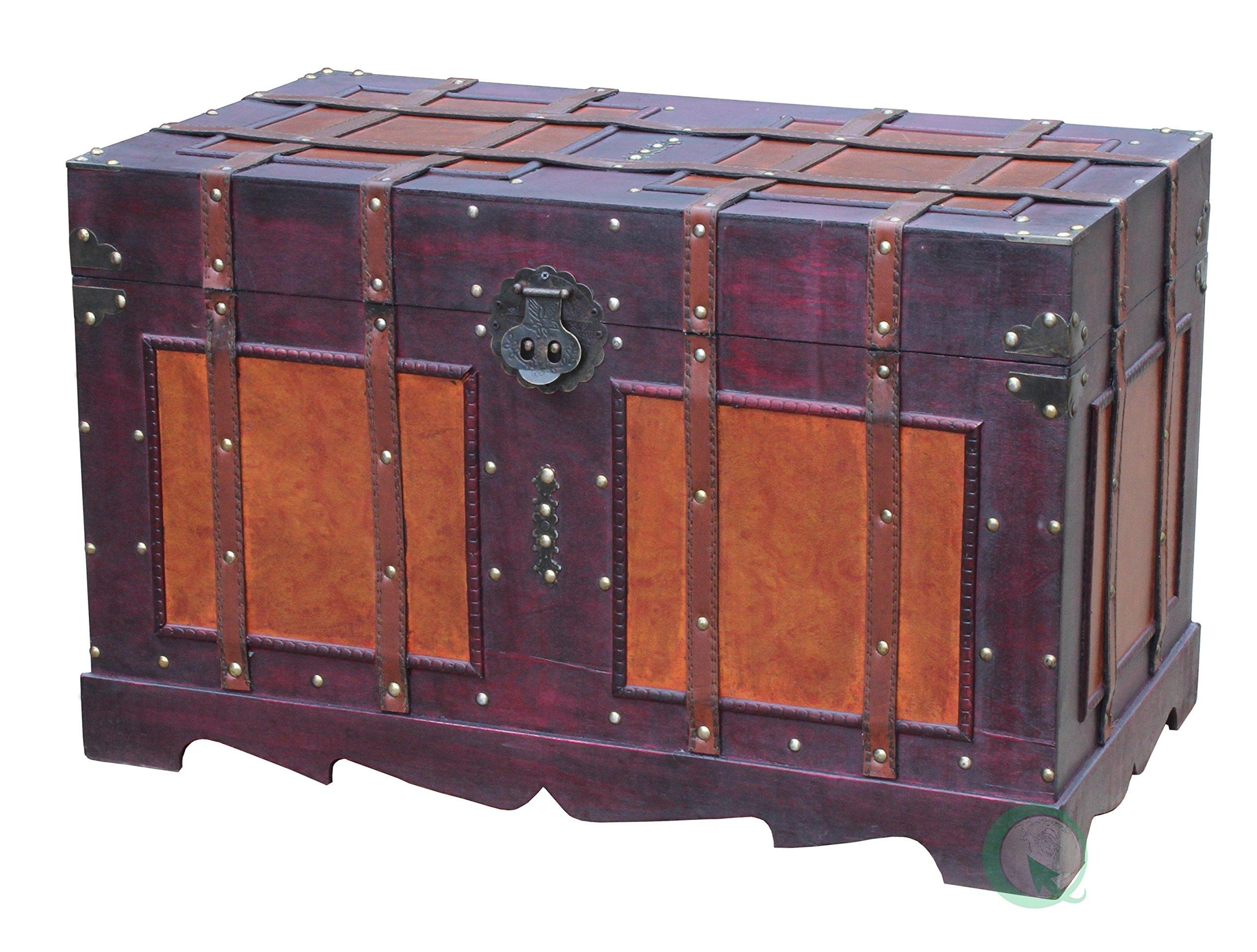 Vintiquewise(TM) Antique Style Steamer Trunk