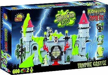 Monsters vs Zombies, vampiro (Drácula) Castillo con brillantes en las oscuras figuras, ladrillos de construcción de Cobi: Amazon.es: Juguetes y juegos
