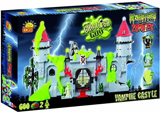 Monsters vs Zombies, Vampire (Dracula) Castle with glowing in the ...
