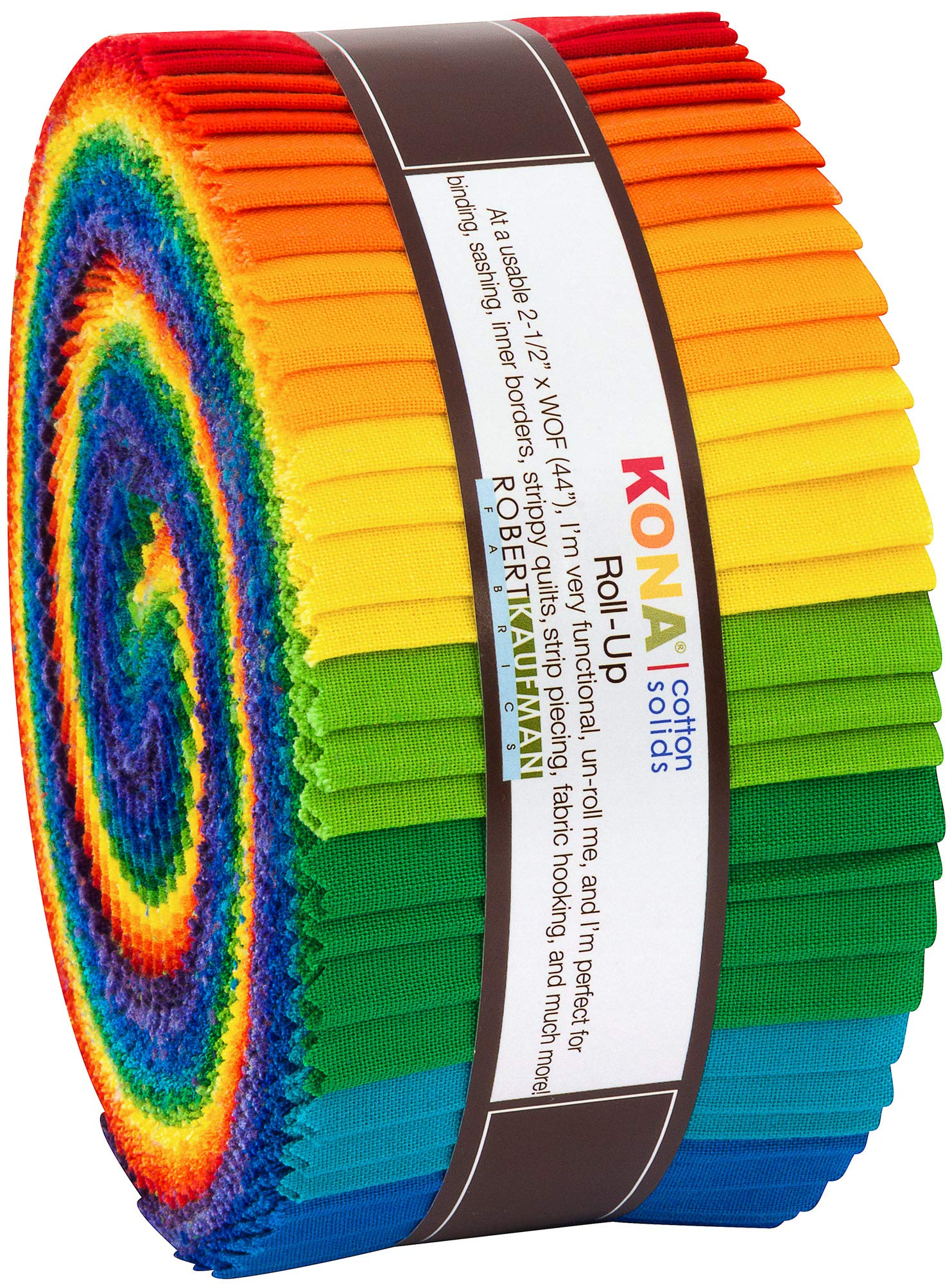 Kona Cotton Bright Rainbow Roll Up 40 2.5-inch Strips Jelly Roll Robert Kaufman