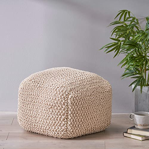 Christopher Knight Home Knox Knitted Cotton Pouf