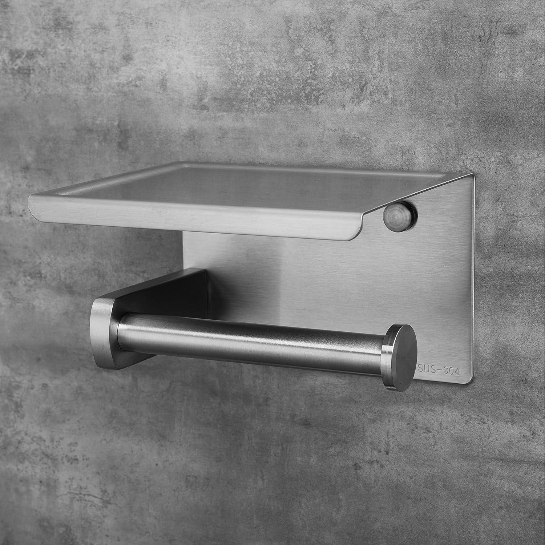 Porte Rouleau Toilette Pas de Forage 3m Auto-adh/ésif et fix/é au mur Support Papier Toilettes pour Salle de Bain et Cuisine Argent Acier Inox SUS 304 Polarduck Porte Papier Toilette Auto-adh/ésif