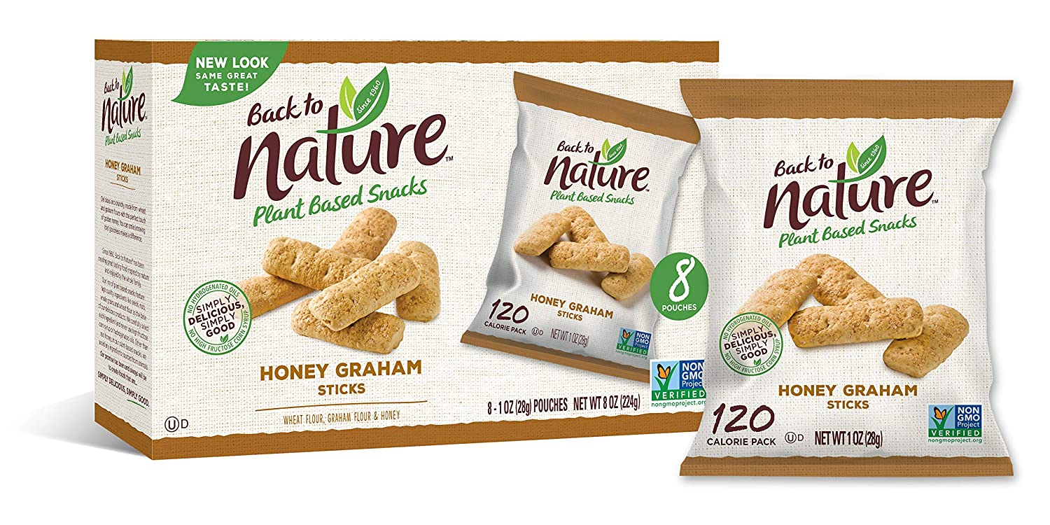 Back to Nature Cookies, Non-GMO Honey Graham Stick, 1 Ounce Grab & Go Bags, 100 Count (Packaging May Vary)
