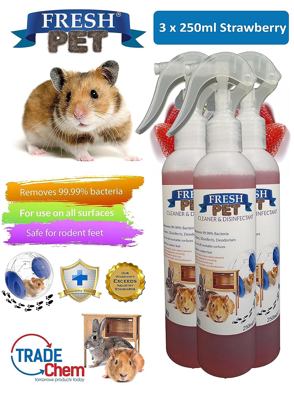 FRESH PET - Juego de 3 botes de 250 ml para desinfectante de roedores y especialistas, para conejos y jaulas: Amazon.es: Productos para mascotas