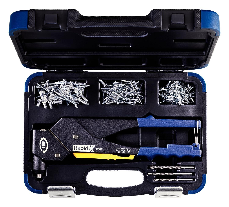Koffer inkl Rapid Blindnietzange RP60 Multi mit 360/° drehbarem Kopf 150 Nieten und 3 Bohrern f/ür ALU Niete von 3,2-4,8 mm