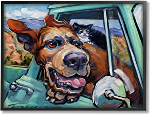 Stupell Industries Cat and Dog in Truck Window Wild Ride, Design by CR Townsend Black Framed Wall Art, 24 x 30, Multi-Color