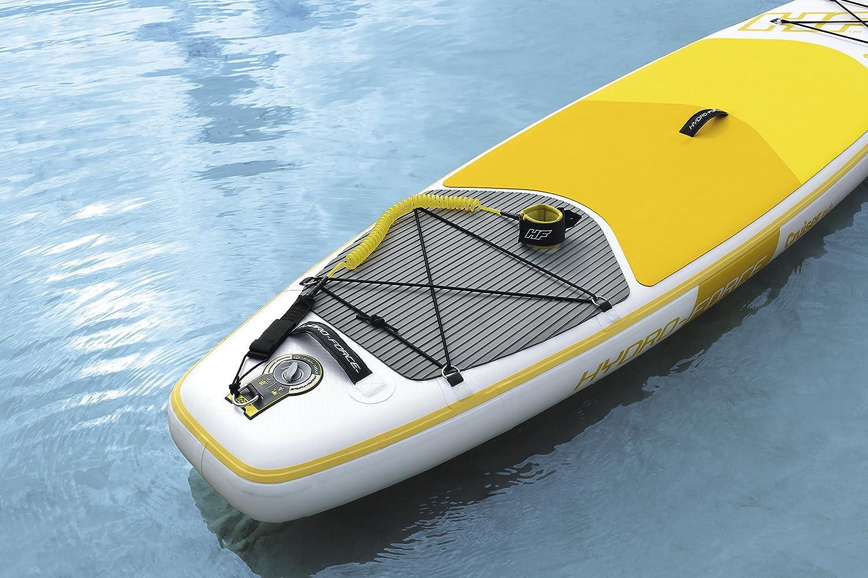 Tabla Paddle Surf Hinchable Hydro-Force Cruiser Tech Bestway en blanco y amarillo 320/x 76/x 15/cm con inflador y mochila deluxe Bestway 65305
