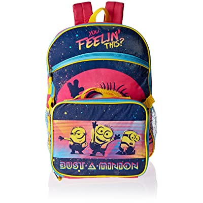 Despicable Me Girls' 16 Inch Backpack with Detachable Lunch Bag, Pink outlet