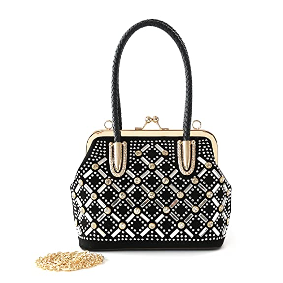 Vintage & Retro Handbags, Purses, Wallets, Bags Satispac Womens Crystal Rhinestones Grid Pattern Mini Handbag $28.50 AT vintagedancer.com